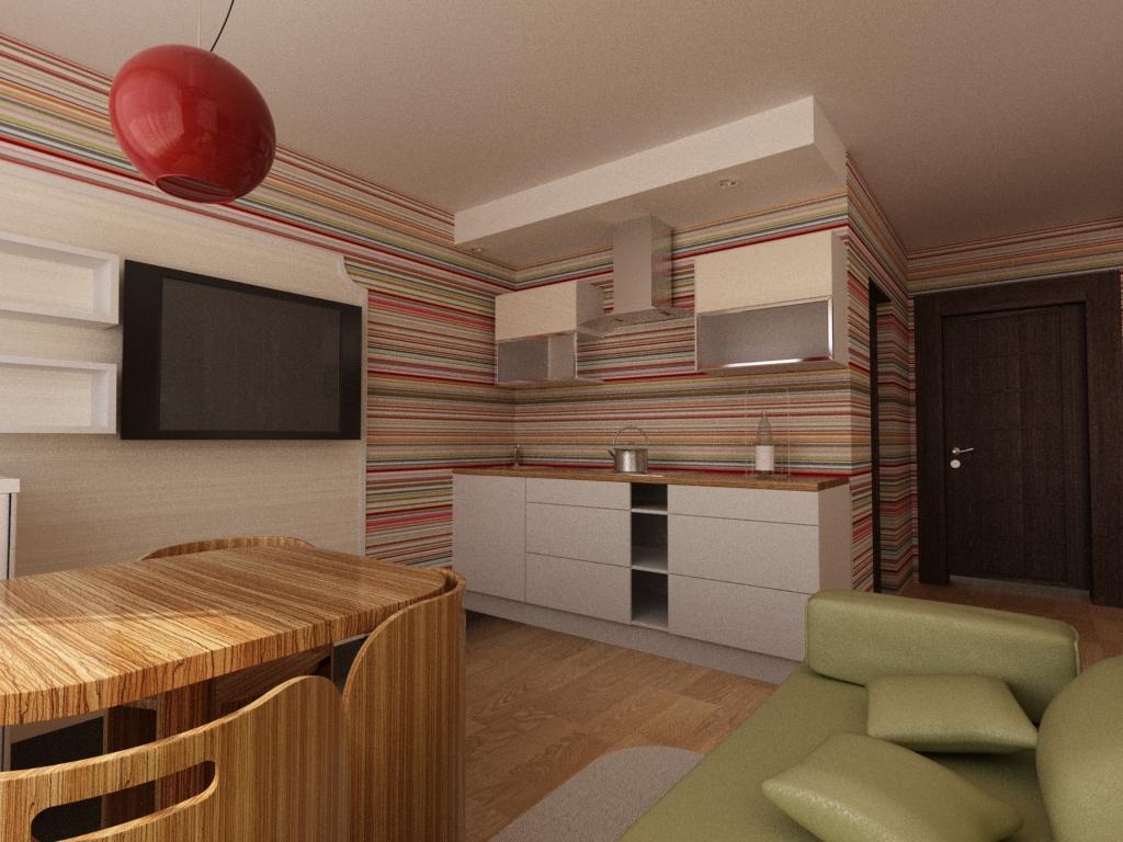 На фото - стильное сочетание обоев и мебели в гостиной