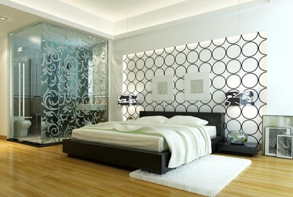 На фото - вариант отделки стен в стиле хай-тек
