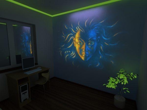 На фото – отделка помещений светящимися красками