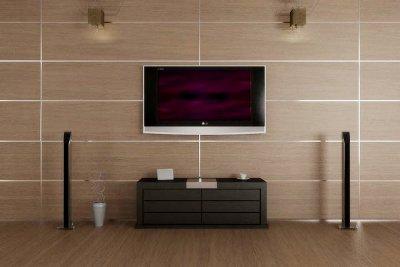 На фото – отделка стены декоративными деревянными панелями