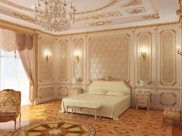 На фото – спальня, оформленная в барокко