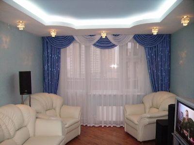На фото гостиная в серо-голубом цвете.
