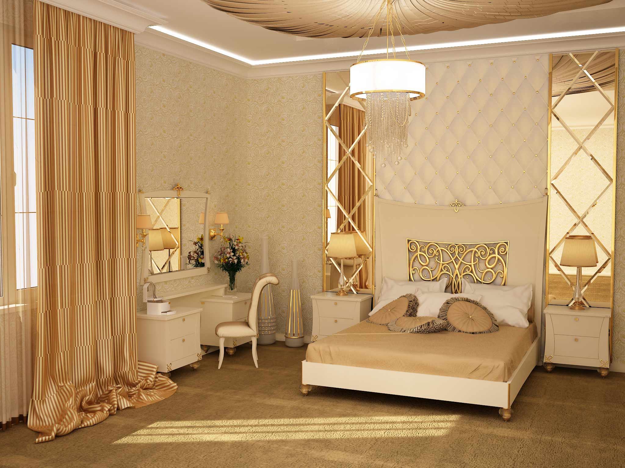 На фото –интерьер спальни в стиле арт-деко