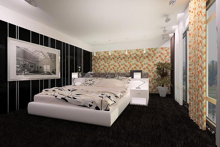На фото контрастное сочетание в интерьере спальни - необычно, но стильно