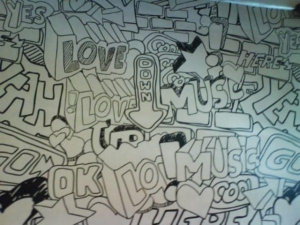 На фото отделка стен в стиле граффити