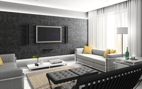 На фото показано использование темных обоев для стильных квартир.