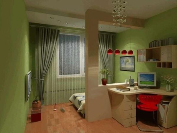 На фото показано, как зонирование светом помогает разделить пространство одной комнаты.