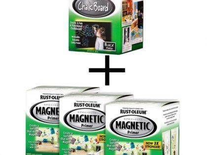 На фото предложение, соответствующее тенденциям 21-го века – магнито-грифельный комплект, обеспечивающий грифельную доску, на которой будут ещё и держаться популярные маленькие магнитики