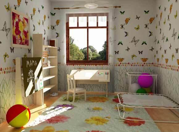 На фото пример творческого подхода к выбору обоев для детской комнаты.