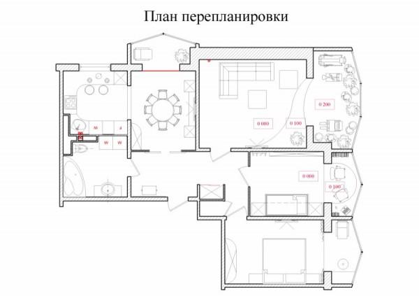 На фото проект перепланировки квартиры.