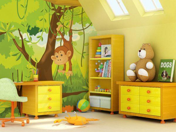 На фото просто идеальное сочетание фотообоев на одной стене, отделки на другой и подобранной для них мебели – к этому и надо стремиться