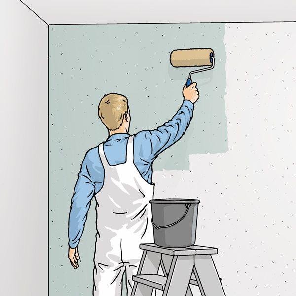 Нанесение клея на поверхность стены.