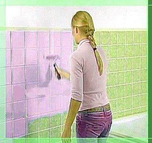 Нанесение краски на плитку
