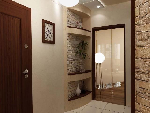 Небольшие помещения лучше оформлять светлыми однотонными полотнами.