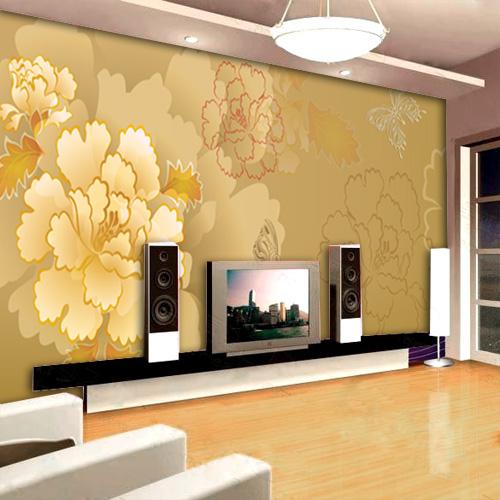 Обои из флизелина прекрасно смотрятся на стене гостиной