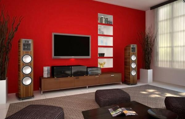 Обои красного цвета для стен в гостиной