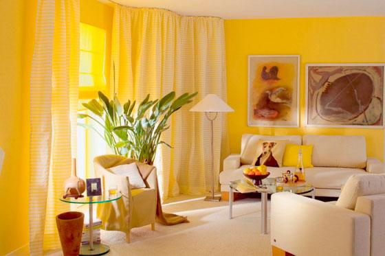 Обои лимонного цвета в интерьере делают утро свежим и бодрым