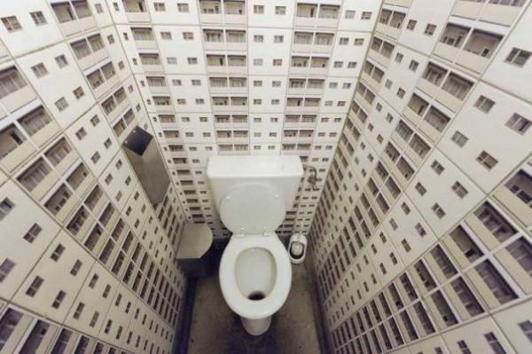 Обои могут визуально расширить тесное пространство туалета.