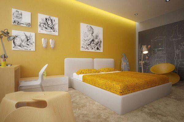 Обои желтого цвета для стен в спальне должны иметь приглушенный оттенок