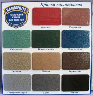 Обработанные молотковой краской Hammerite выставочные элементы