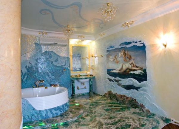 Обычные моющиеся аналоги можно наклеить на стену ванной, где нет сантехнических приборов.