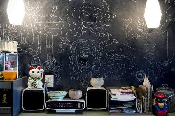 Оформление детской комнаты со стенами, на которых можно рисовать мелом