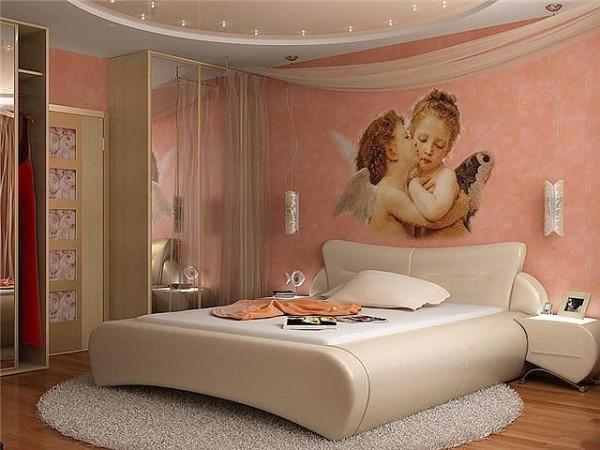 Оформление интерьера спальни.