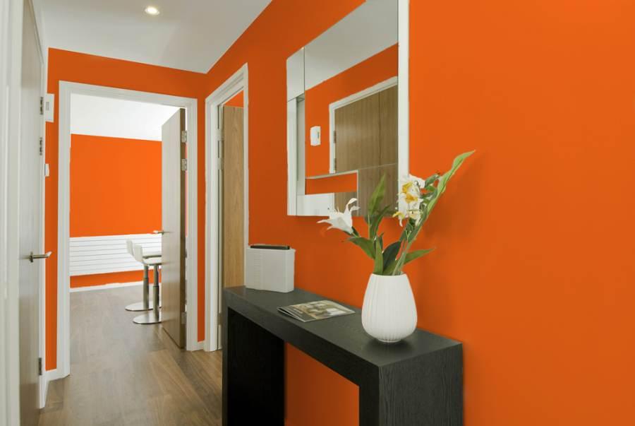 Оформление прихожей в оранжевых тонах