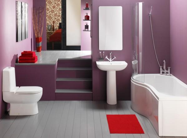 Окрашенные стены ванной комнаты