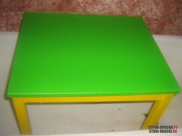 Окрашенный стол, высохший по всем правилам