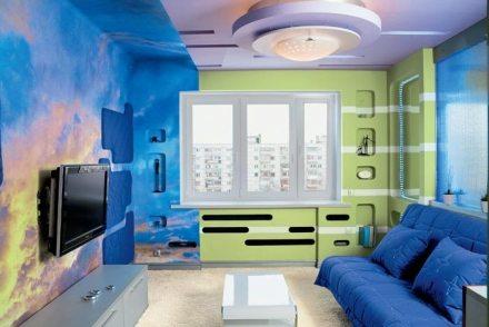 Оригинально окрашенная комната воднодисперсными суспензиями
