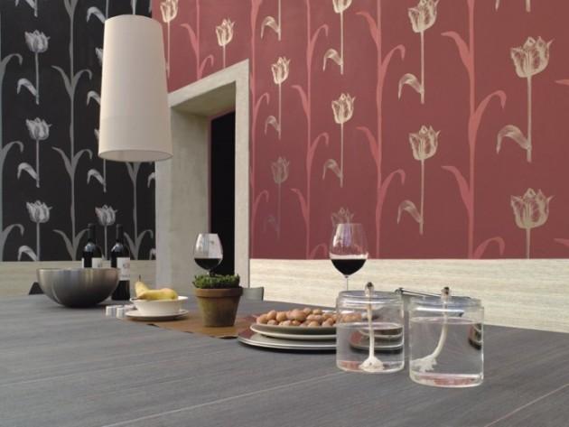 Оригинальное оформление кухни с использованием материалов разного цвета, но с одинаковым рисунком