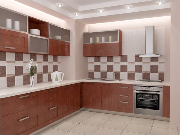 Отделанные керамической плиткой стены кухни
