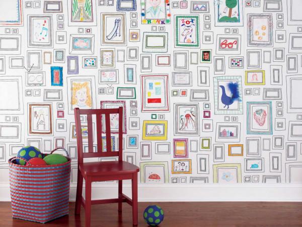 Отделка детской комнаты в пеноблочном доме виниловыми обоями.