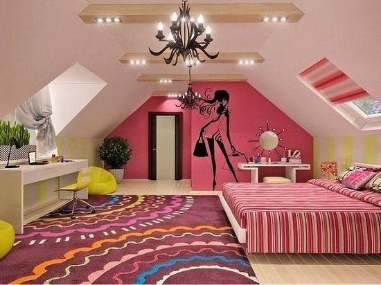 Отделка комнаты для девочки подростка в мансарде