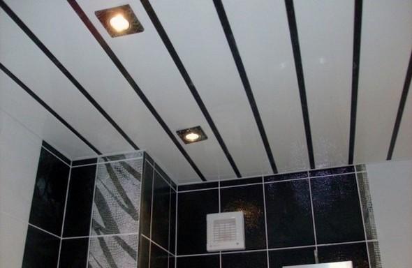 Пластик - идеальный материал для потолка в ванной.