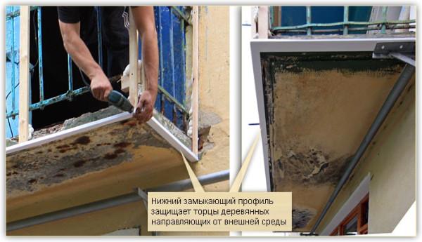 Пластик не только служит ориентиром для установки облицовки, но и защищает торцы деревянных элементов