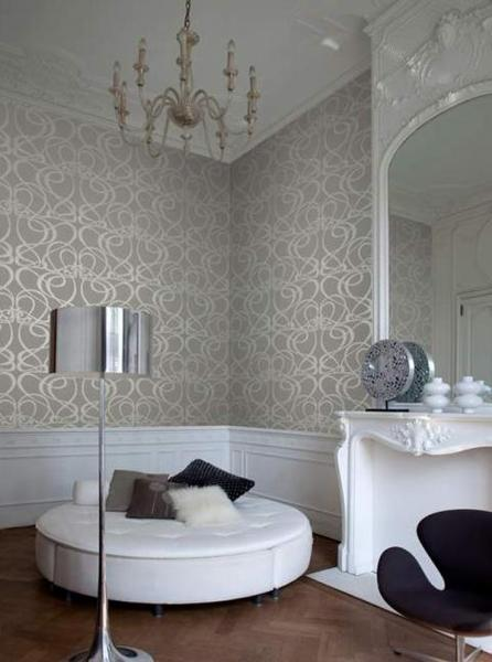 Плавные узоры подчёркивают общий интерьер зала в стиле модерн