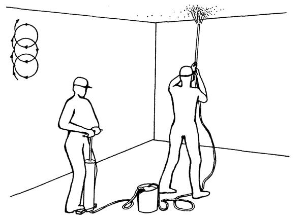 Побелка потолка ручным прибором