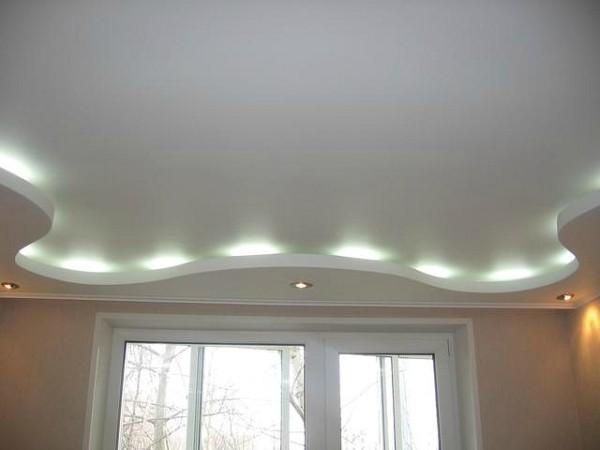 Подсветка – отличный вариант: двухуровневый гипсокартонный потолок.