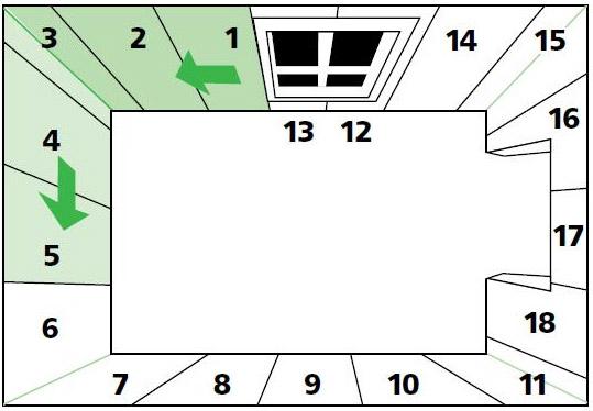Правильное расположение рулонов в помещении с указанием их числа и последовательности