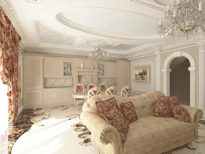 При помощи нескольких оттенков белого цвета можно эффектно расставить акценты на особенностях оформления стен и потолка гостиной