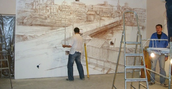 При рисовании сначала делается прорисовка всей композиции.