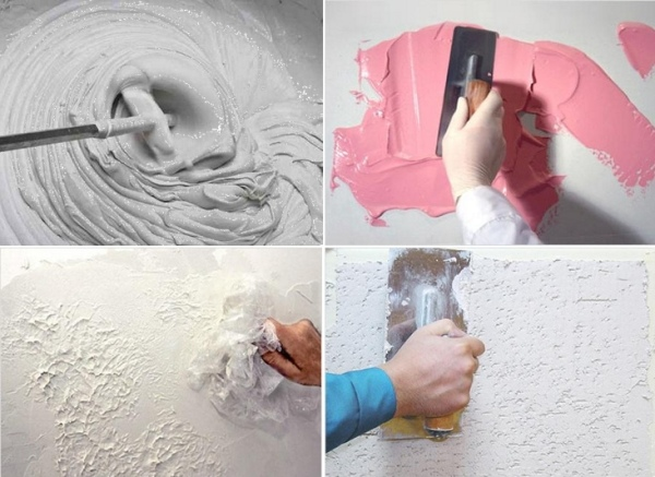 При создании фигурной или декоративной штукатурки профессиональные мастера рекомендуют добавлять краситель прямо в раствор, чтобы после механических повреждений на поверхности не появлялось белых следов