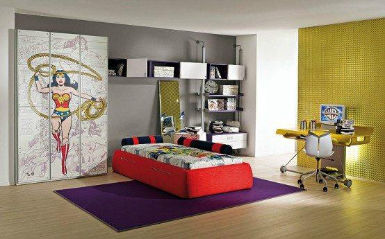 Применение обоев под окраску позволяет разграничить зону отдыха и рабочую зону