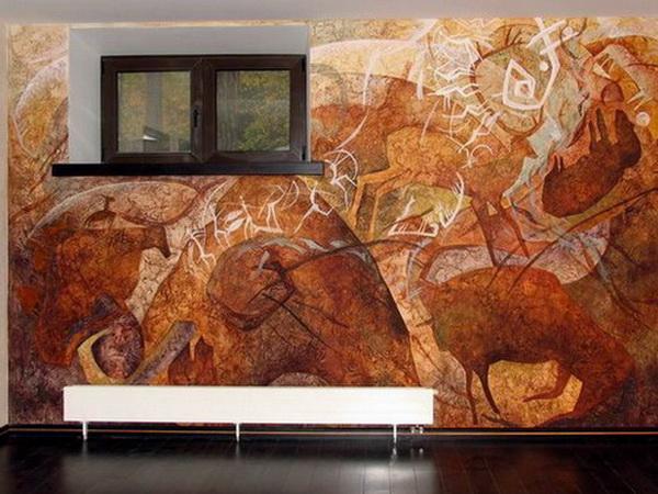 Пример декоративной штукатурки стен в интерьере.