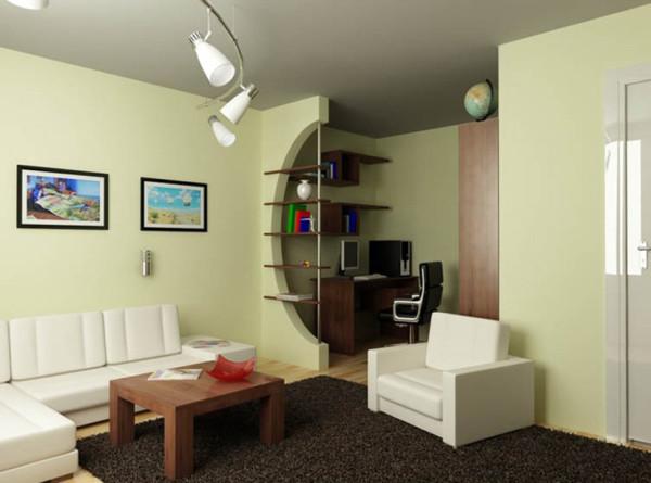 Пример грамотного выделения рабочей зоны в однокомнатной квартире.