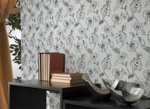 Пример текстильных обоев в интерьере - прекрасно подходят для декорирования гостиной, спальни и кабинета.