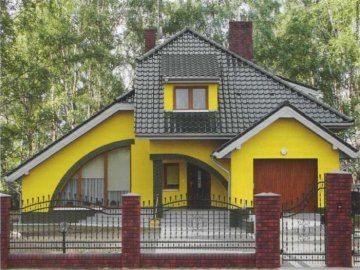 Пример удачного сочетания стен с крышей.