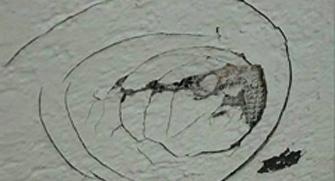 Пример вмятины в мокром фасаде